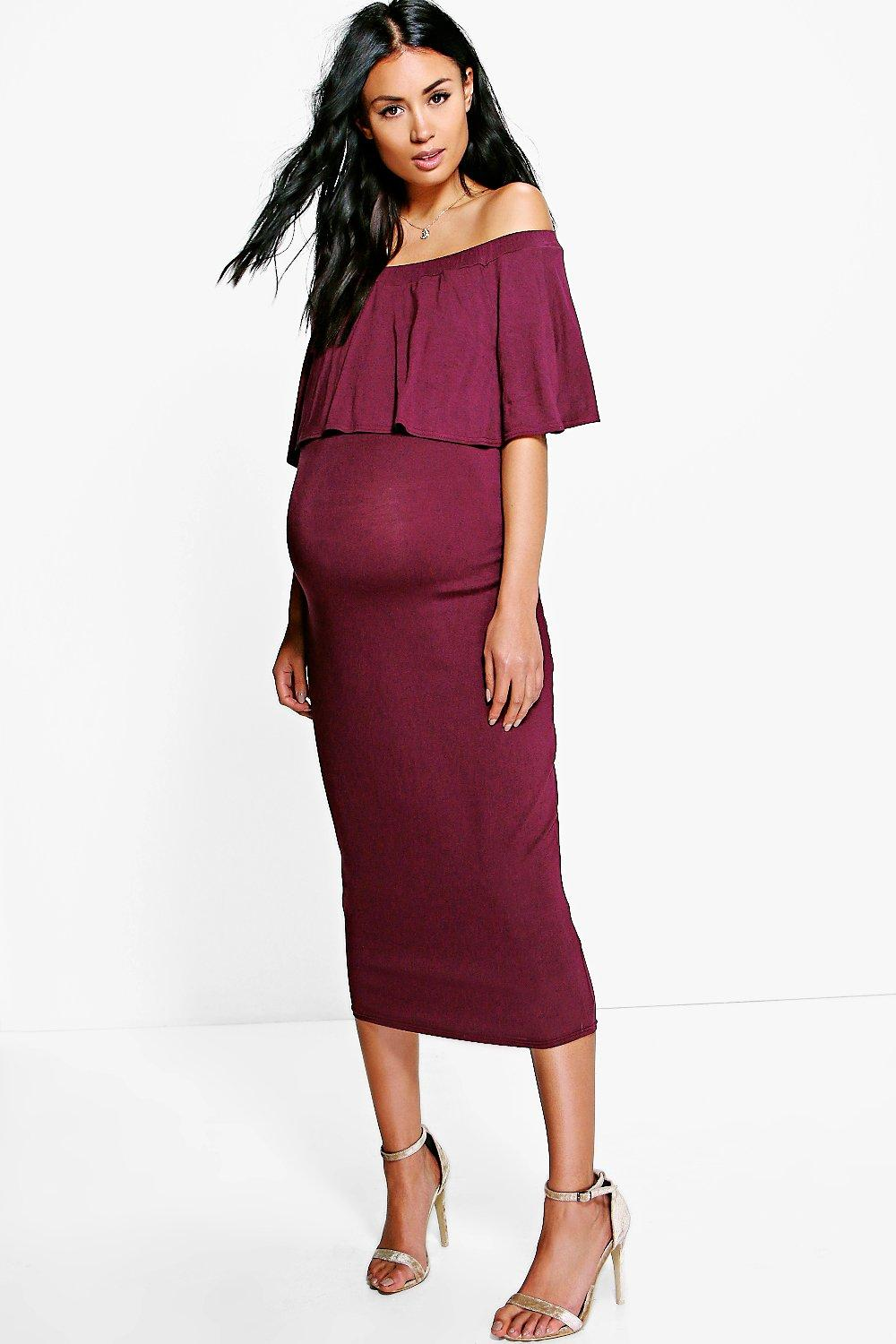 06868ee30fb6 Womens Berry Maternity Off The Shoulder Midi Dress. Hover to zoom