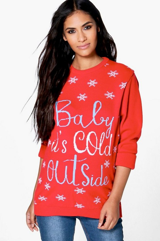 Maternity  Baby It's Cold Outside Christmas Jumper