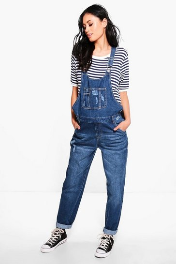 Womens Blue Maternity  Denim Dungaree