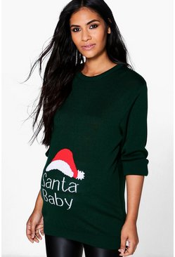 Womens Green Maternity  Santa Baby Christmas Jumper