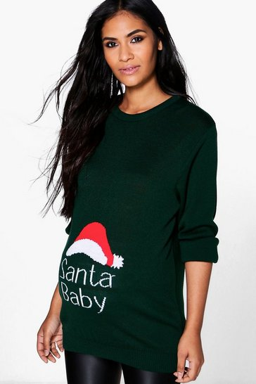Womens Green Santa Baby Slogan Maternity Christmas Jumper