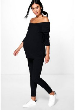 Womens Black Maternity Bardot Top & Lounge Jogger Set