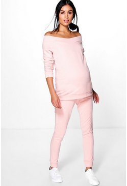Womens Blush Maternity Bardot Top & Lounge Jogger Set