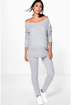 Ensemble top bardot de maternité et jogging de détente, Gris chiné, Femme