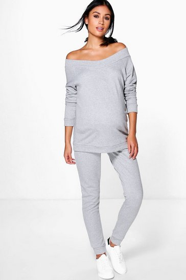 Womens Grey marl Maternity Bardot Top & Lounge Jogger Set