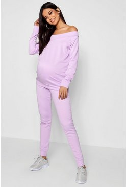 Womens Lilac Maternity Bardot Top & Lounge Jogger Set
