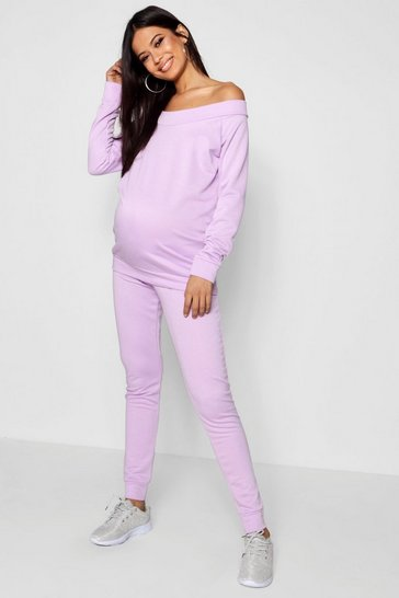 Womens Maternity Bardot Top & Lounge Jogger Set