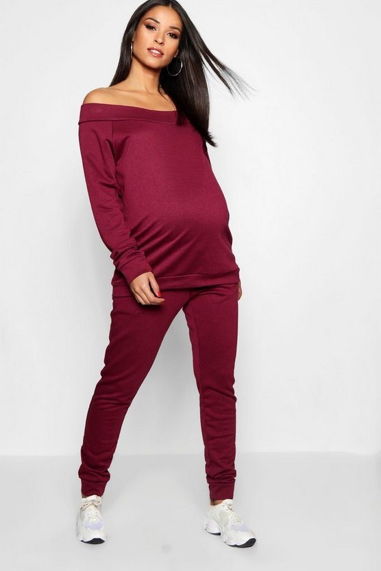 Maternity Bardot Top & Lounge Jogger Set