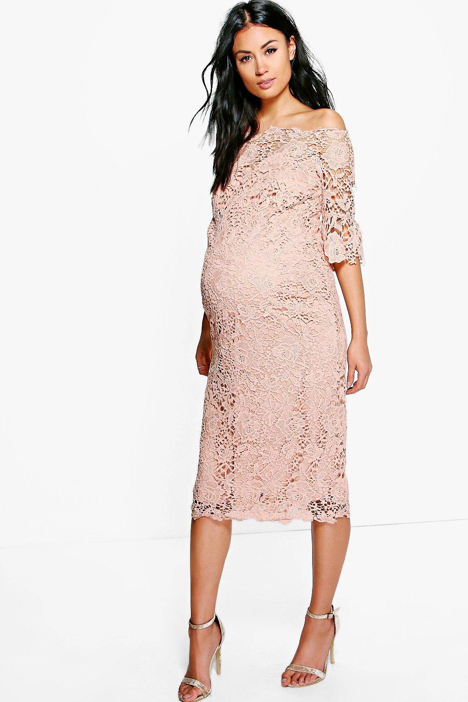 Maternity Boutique Off The Shoulder Crochet Dress Boohoo