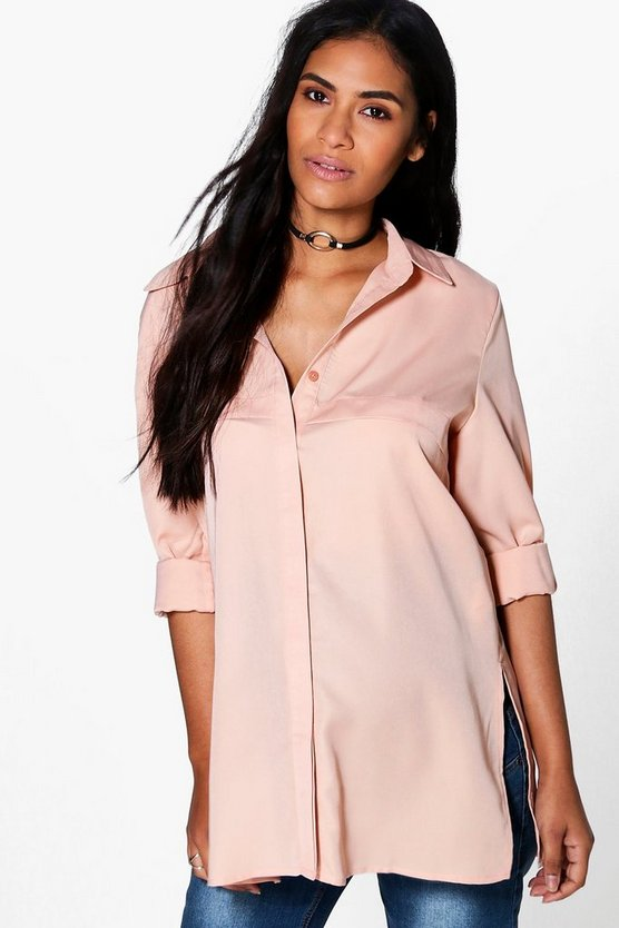 Womens Sand Maternity Lillian Longline Shirt