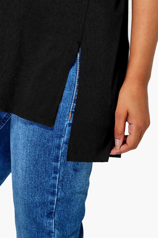 abertura Camiseta premamá extragrande negro lateral con wnf87CqU