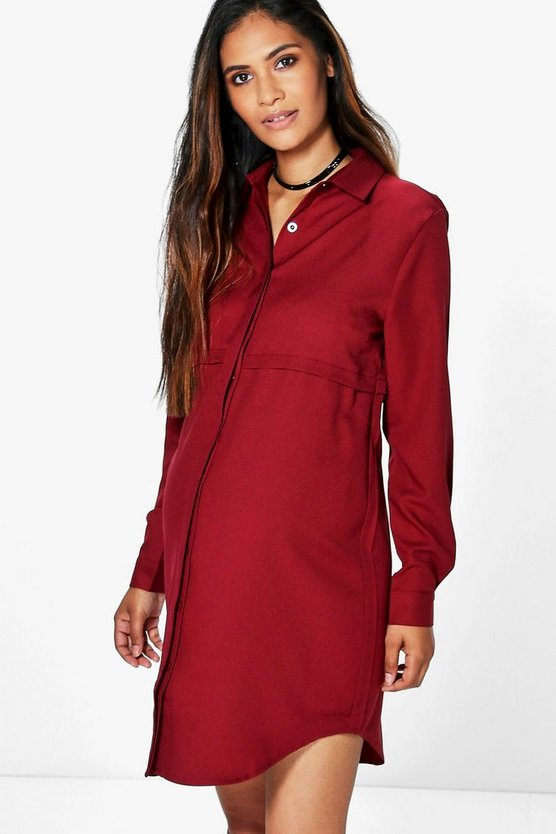 Womens Berry Maternity Jane Woven Long Sleeve Shirt Dress