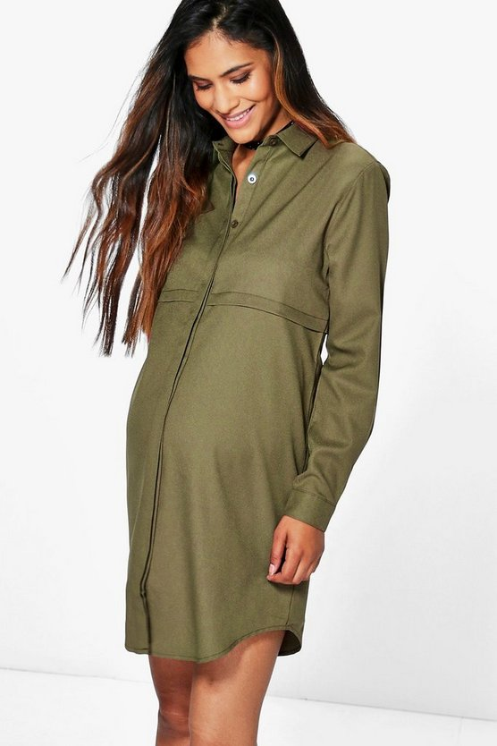 Maternity Jane Woven Long Sleeve Shirt Dress