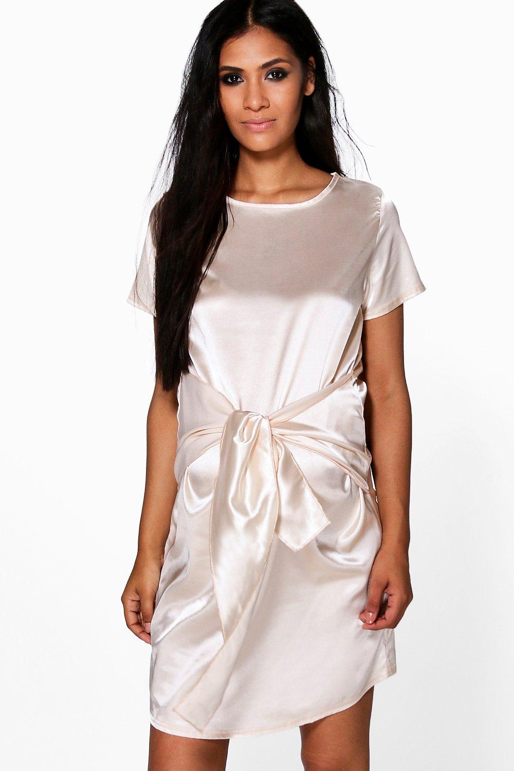 Susie Satin Wrap Front Shift Dress  champagne