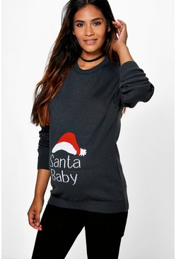 Womens Grey Maternity  Santa Baby Christmas Jumper