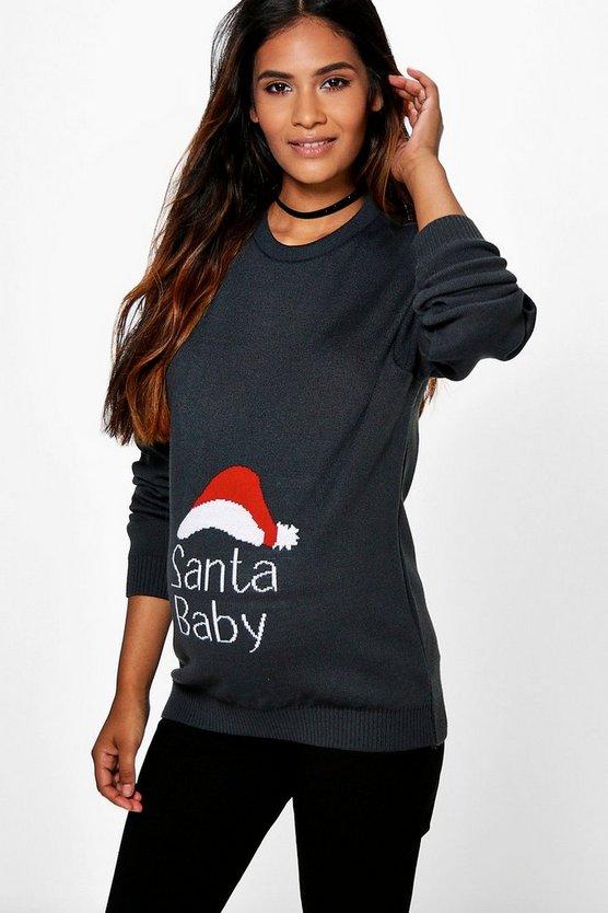 Maternity  Santa Baby Christmas Jumper
