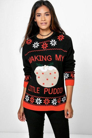 Womens Multi Maternity Making my Little Pudding Jumper