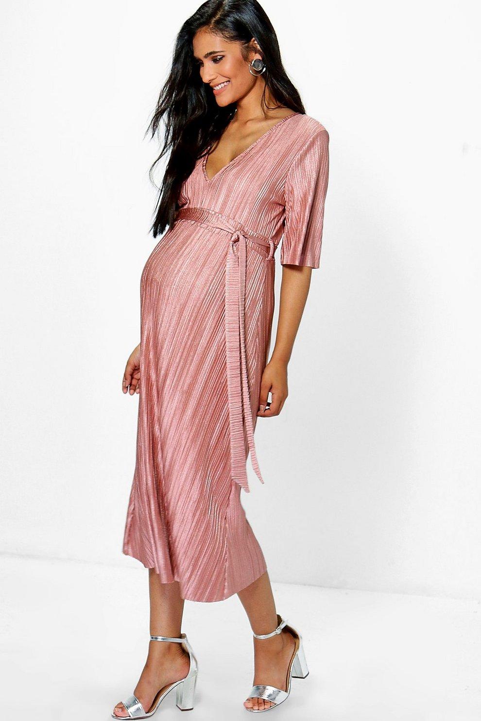 7c232f7c4151a Maternity Shreya Pleated Midi Dress | Boohoo