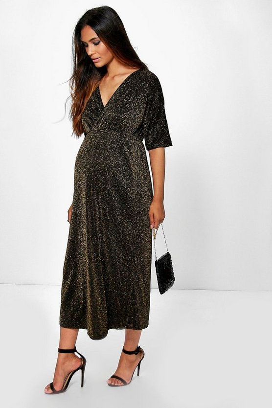 Maternity Lauren Metallic Wrap Skater Dress