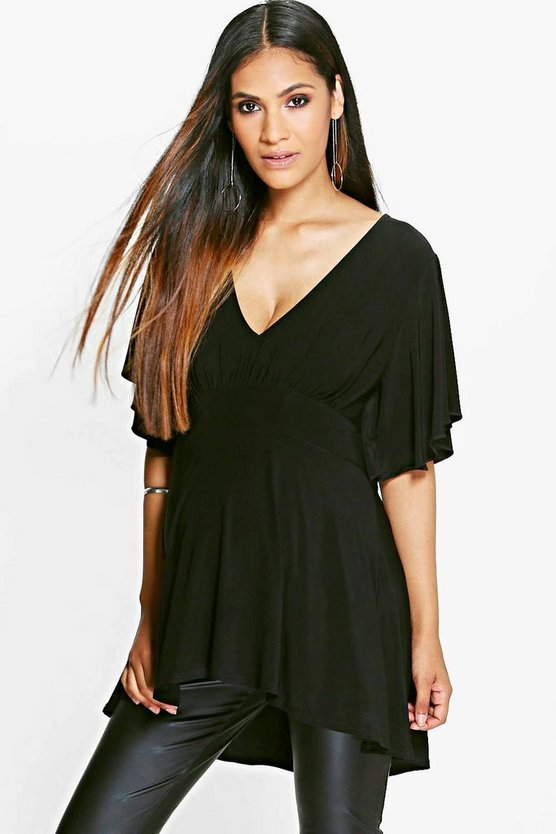 Black Maternity Ruffle Sleeve Slinky Top