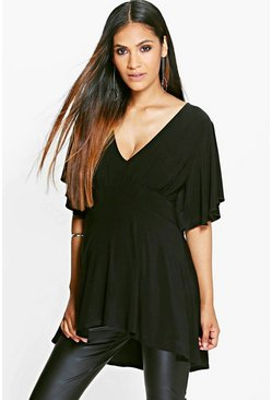 Womens Black Maternity Ruffle Sleeve Slinky Top