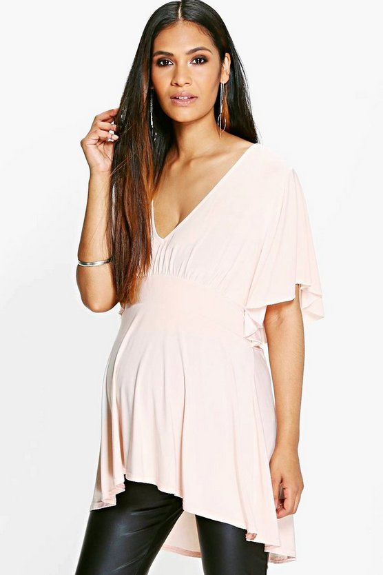 Maternity Ruffle Sleeve Slinky Top