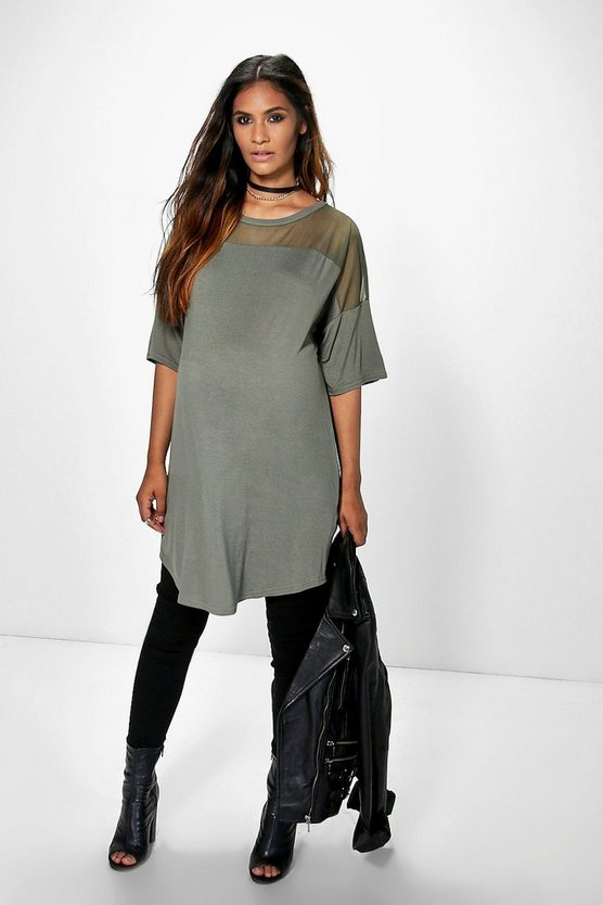 Womens Khaki Maternity Mesh Insert T-Shirt Dress
