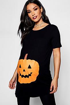 Maternity Emily Pumpkin Printed Halloween Tee