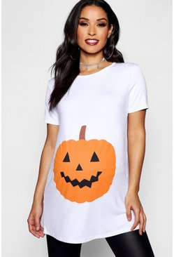 White Maternity Emily Pumpkin Printed Halloween Tee