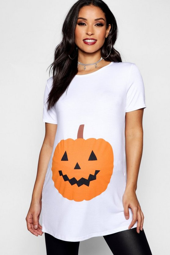 Womens White Maternity Emily Pumpkin Printed Halloween Tee