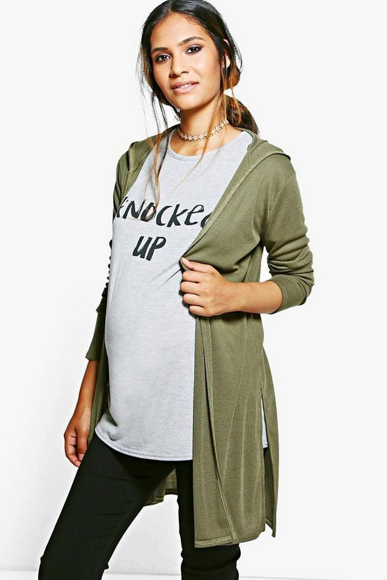 Maternity Ivy Hooded Side Split Cardigan