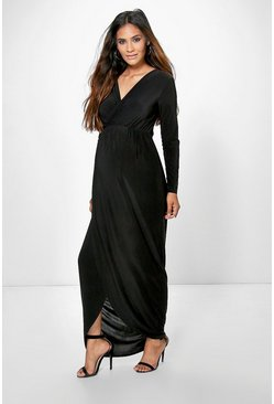 Womens Black Maternity Wrap Front Maxi Dress