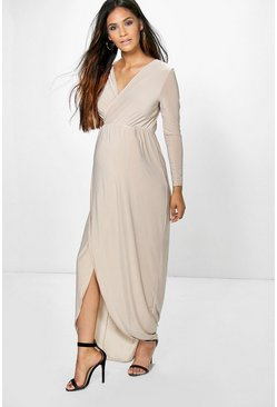 Womens Champagne Maternity Wrap Front Maxi Dress