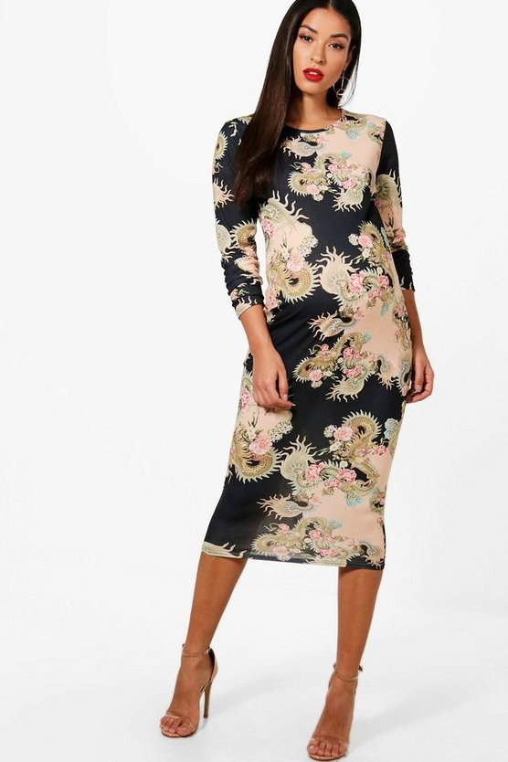 Womens Black Maternity El Floral Baroque Long Sleeve Midi Dress