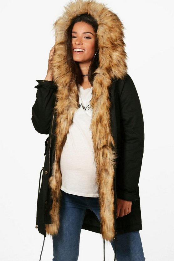 Womens Black Maternity Faux Fur Trim Parka