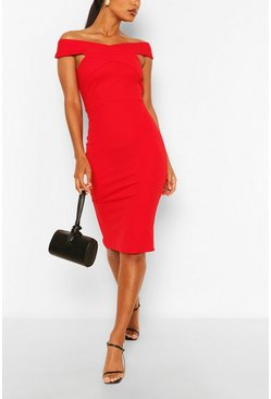 Off Shoulder Bodycon Midi Dress, Red