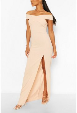 Nude Off Shoulder Maxi Dress
