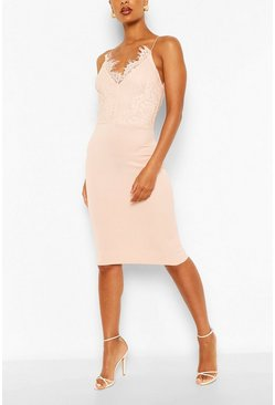 Pink Bodycon Midi Dress