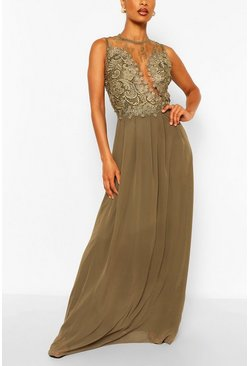 Khaki Lace Detail Maxi Dress