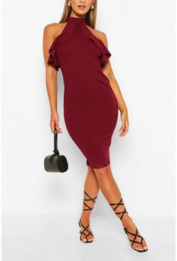 Plum High Neck Bodycon Midi Dress