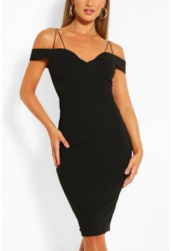 Black Off Shoulder Bodycon Midi Dress