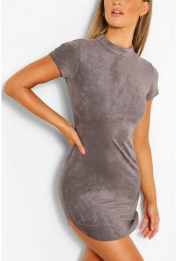 Dark grey Short Sleeve Bodycon Mini Dress