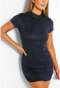Navy Short Sleeve Bodycon Mini Dress
