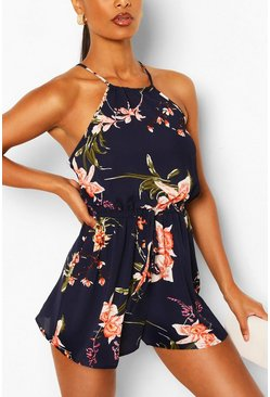 Navy Floral Bodycon Mini Dress
