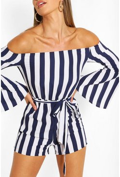 Navy Stripe Playsuit