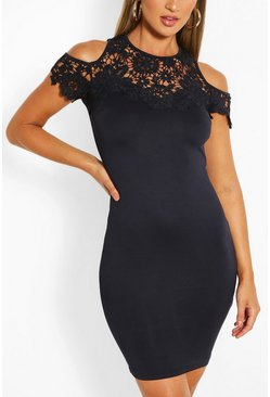 Navy Lace Detail Bodycon Mini Dress