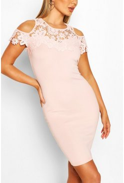 Pink Lace Detail Bodycon Midi Dress