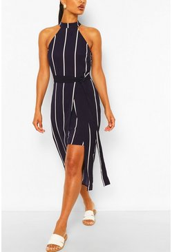 Navy Stripe Bodycon Mini Dress