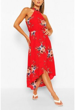 Red Floral Bodycon Midi Dress