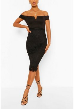 Black Bardot Bodycon Midi Dress
